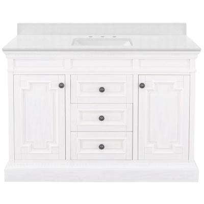 Cailla 49 in. W x 22 in. D Bath Vanity in White Wash with Engineered Marble Vanity Top in Snowstorm with White Sink