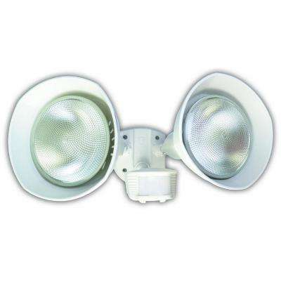 150-Watt 180-Degree White Motion Activated Outdoor Dusk to Dawn Security Flood Light with Twin Head and Bulb Shields