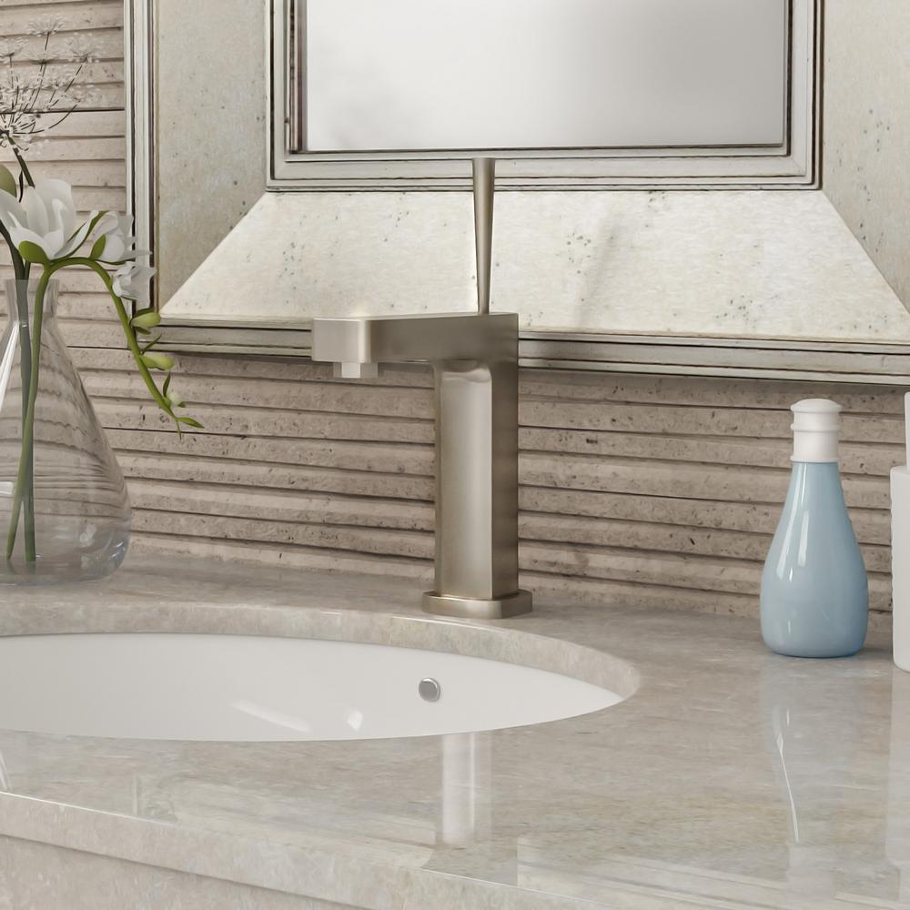 Yosemite Home Decor Single Hole Handle Bathroom Faucet In Brushed Nickel