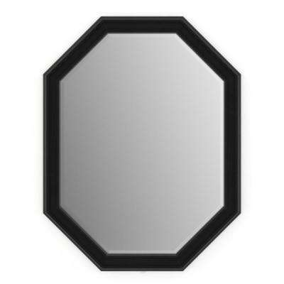 26 in. x 34 in. (M2) Octagonal Framed Mirror with Deluxe Glass and Float Mount Hardware in Matte Black