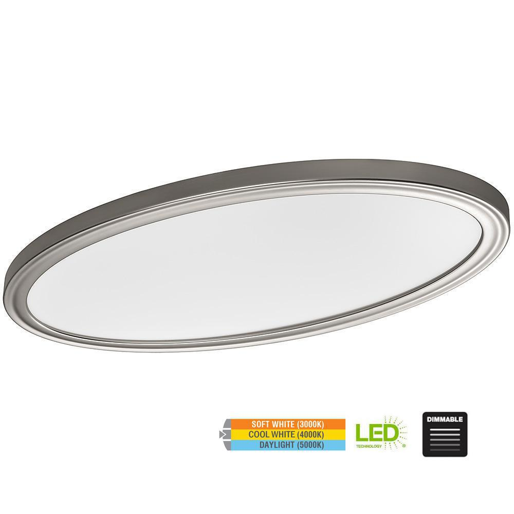 Hampton Bay Low Profile 32 in. Oval Brushed Nickel 80 Watt Equivalent Integrated LED Flushmount with Color Temp Changing Feature