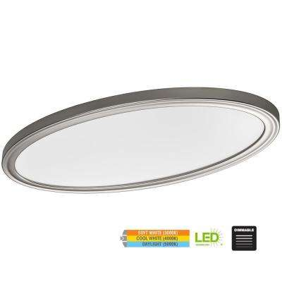 Low Profile 32 in. Oval Brushed Nickel 80 Watt Equivalent Integrated LED Flushmount with Color Temp Changing Feature
