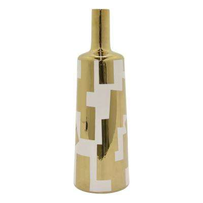 19 in. Porcelain Vase with Gold Accent