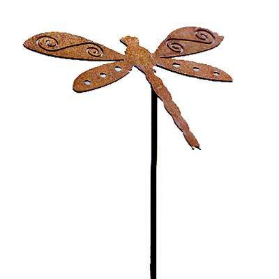 20 In Tall Steel Metal Rustic Rust Dragonfly Planter Pick Brownish Red Ch045 The Home Depot