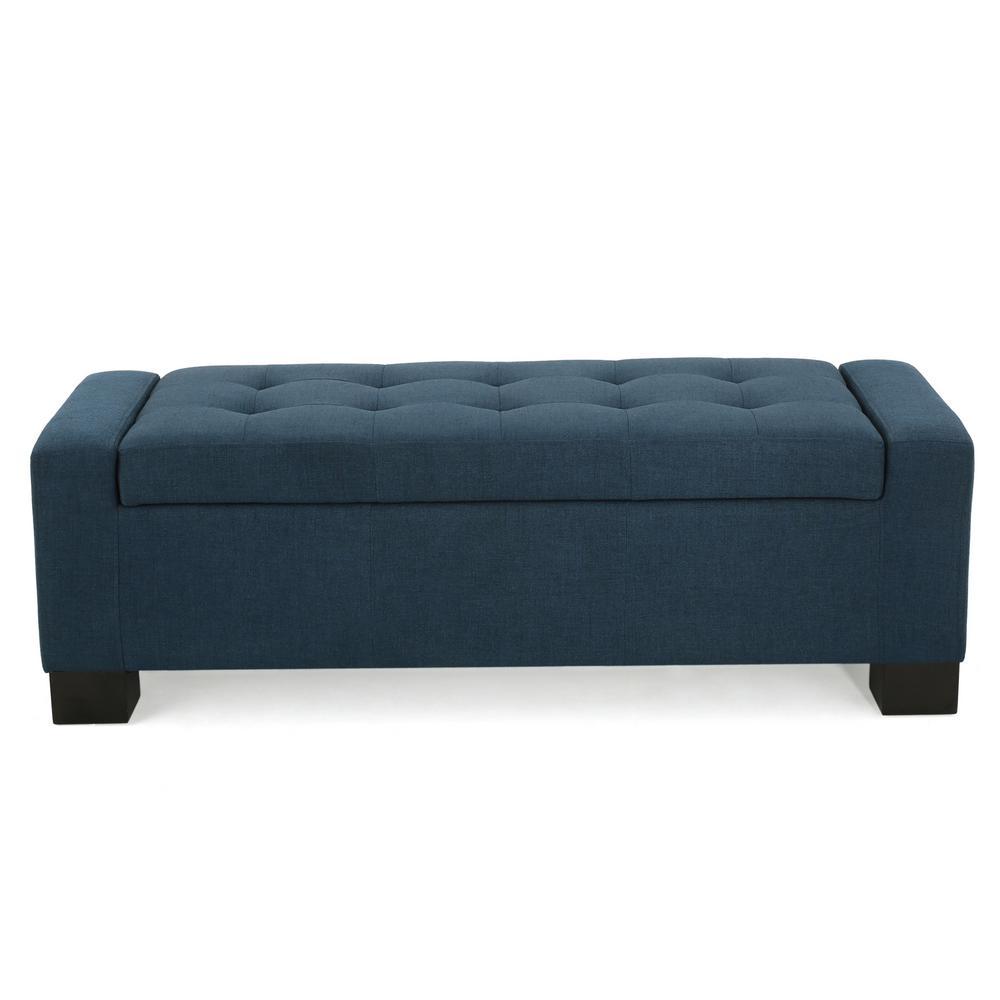 Guernsey Dark Blue Fabric Storage Bench