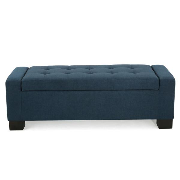 Noble House Guernsey Dark Blue Fabric Storage Bench 299500