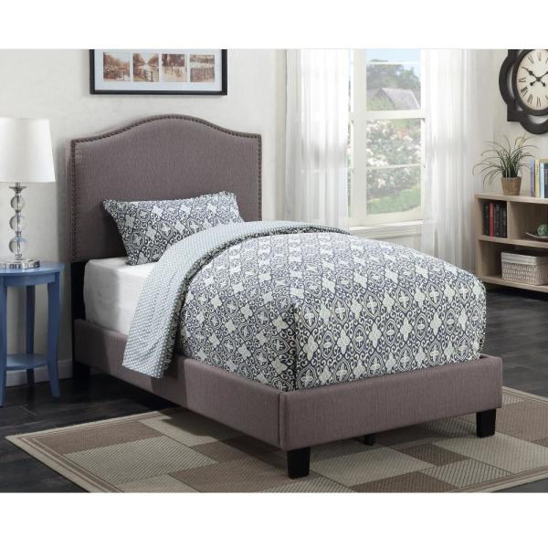American Woodcrafters Barron Taupe Twin Upholstered Bed