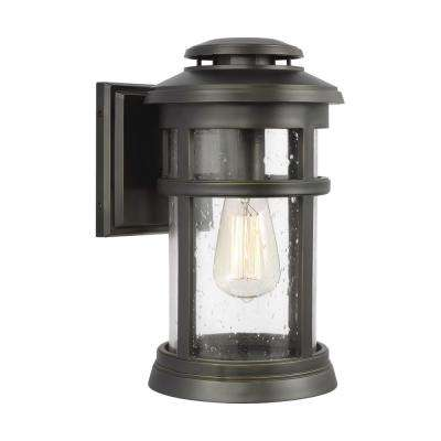 Newport 1-Light Antique Bronze Outdoor Wall Mount Lantern
