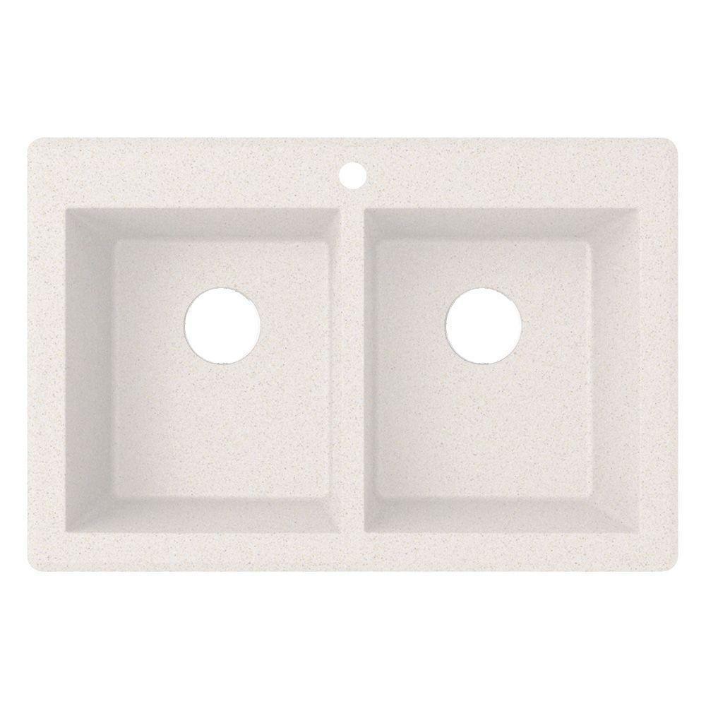 Drop-in Granite 22 in. 1-Hole Double Bowl Kitchen Sink in Bianca