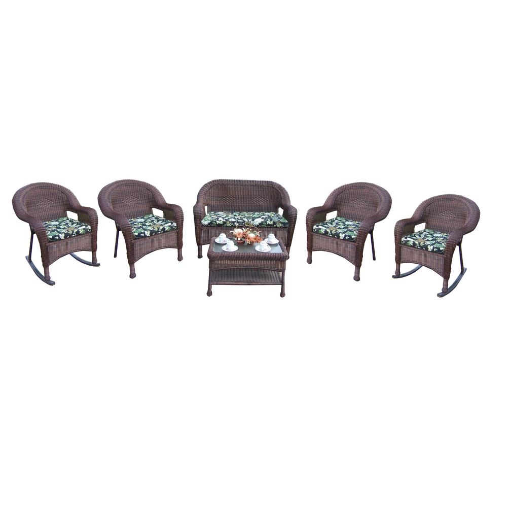 Coffee 6-Piece Wicker Patio Conversation Set with Black Floral Cushions