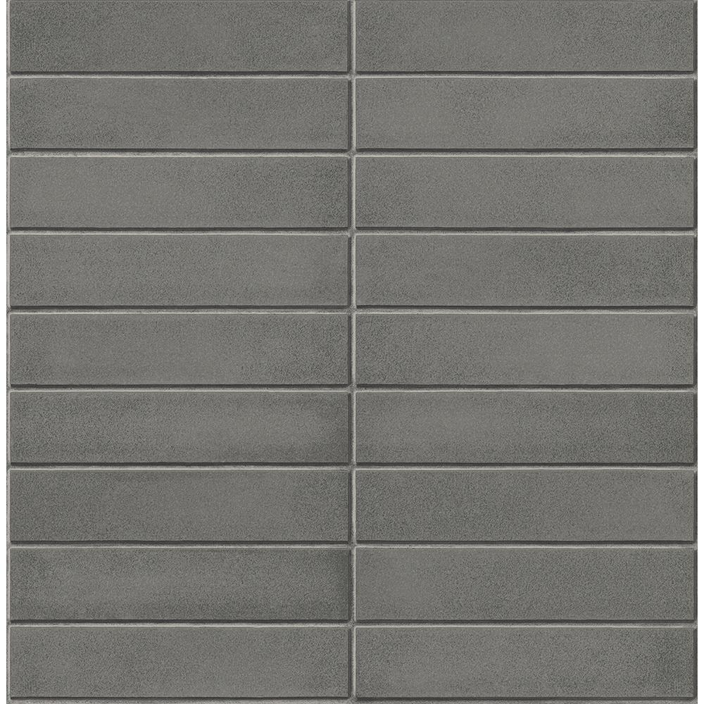 A Street Midcentury Modern Dark Grey Brick Wallpaper Sample