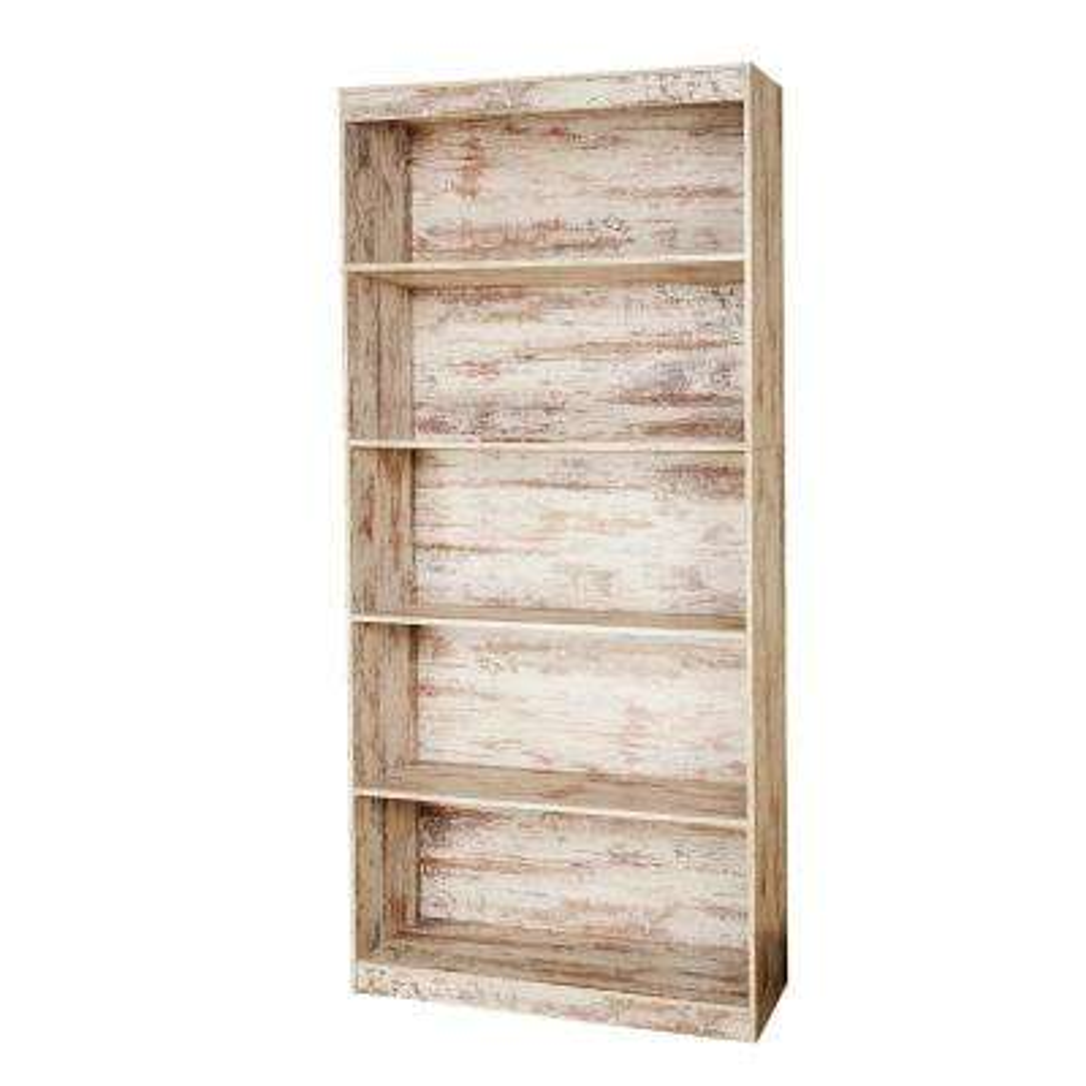 White Wash Sturdy Standard 5-Shelf Bookcase