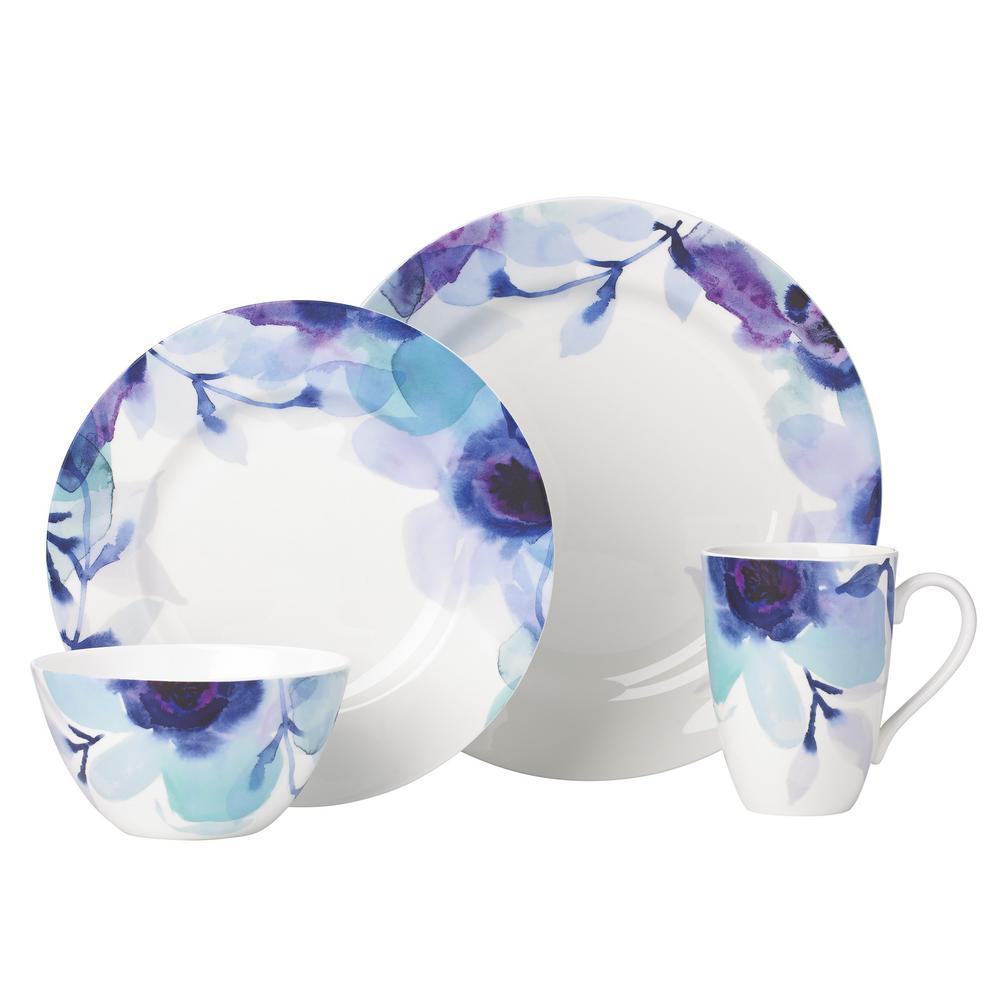 Indigo Watercolor 4-Piece Floral Dinnerware Set