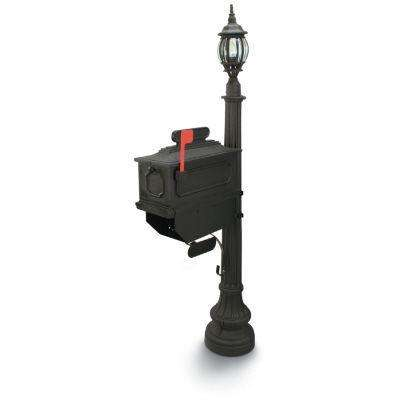 1812 Beaumont 72 in. Plastic Black Mailbox with Lantern Post