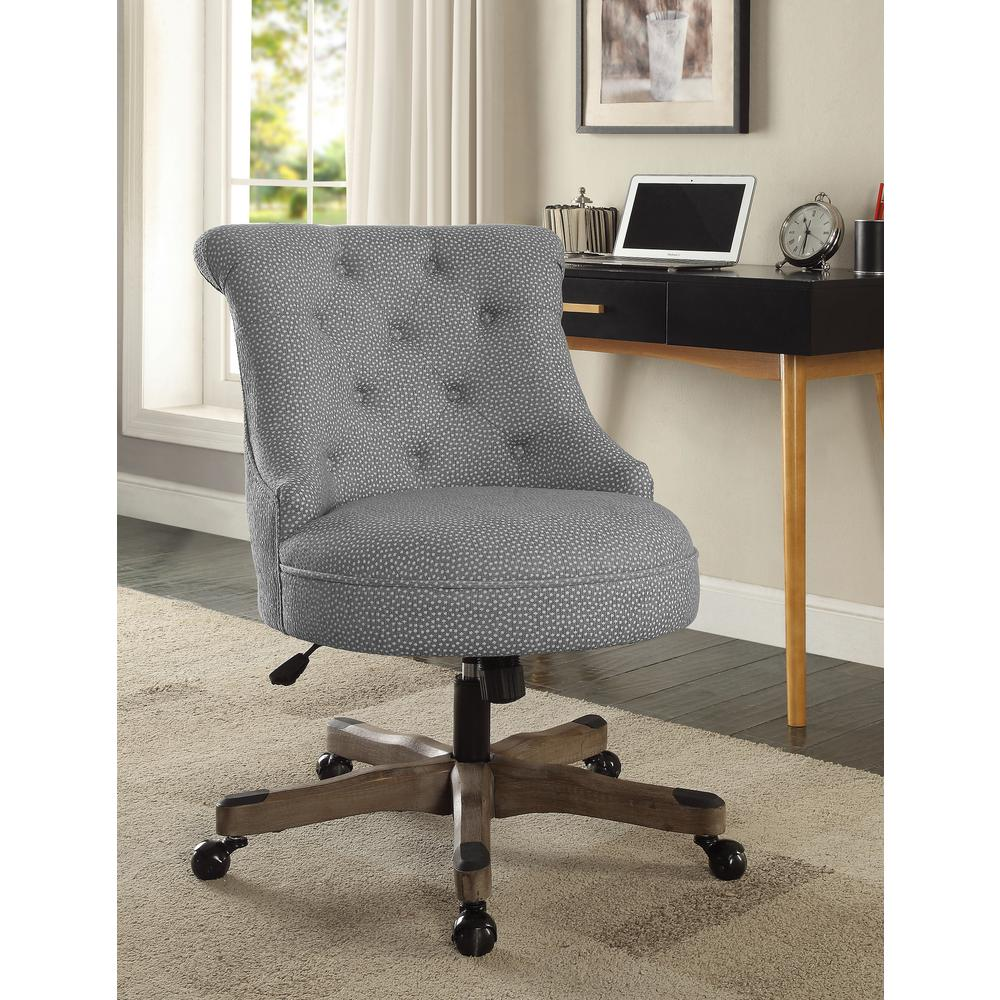 Sinclair Light Gray And White Dots Upholstered Fabric With Gray Wood Base Office Chair
