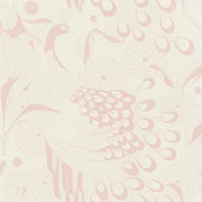Illustrated Peacocks Wallpaper Pink Paper Strippable Roll (Covers 57 sq. ft.)