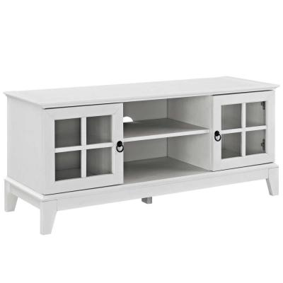 Isle 47 in. White Wood TV Stand Fits TVs Up to 50 in. with Storage Doors