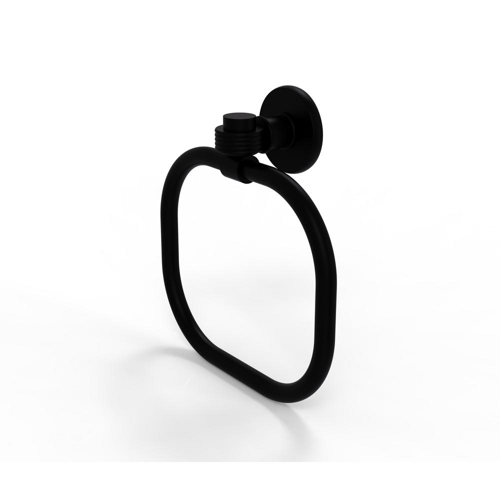 Allied Brass Continental Collection Towel Ring with Groovy Accents in Matte Black