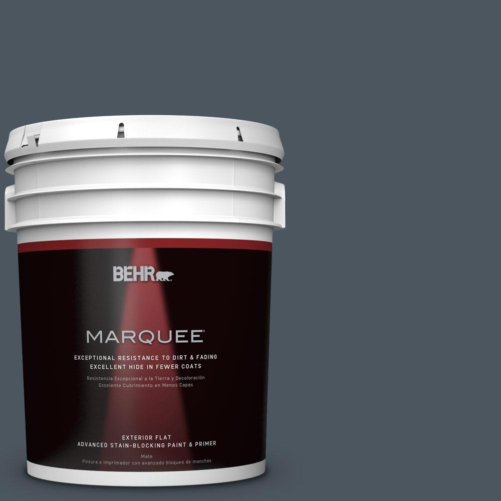 BEHR 5-gal. #N480-7 Midnight Blue Flat Exterior Paint, Blues