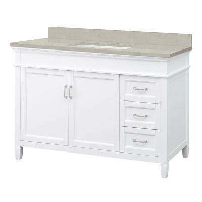Ashburn 49 in. W x 22 in. D Vanity in White with Engineered Quartz Vanity Top with White Basin