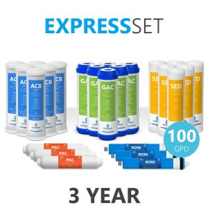 Express Water – 3 Year Reverse Osmosis System Replacement Filter Set – 24 Filters with 100 GPD RO Membrane – 10 in Size