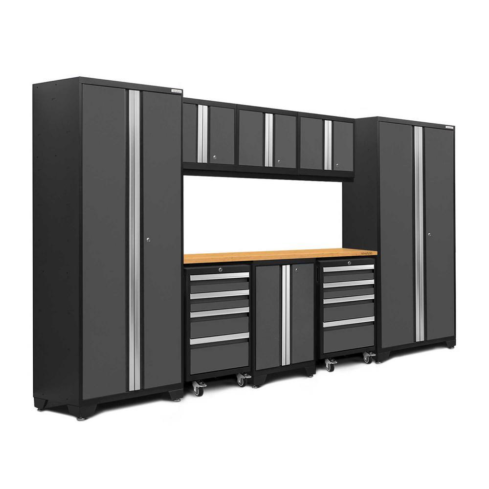 Bold 3.0 77.25 in. H x 132 in. W x 18 in. D 24-Gauge Welded Steel Bamboo Worktop Cabinet Set in Gray (9-Piece)
