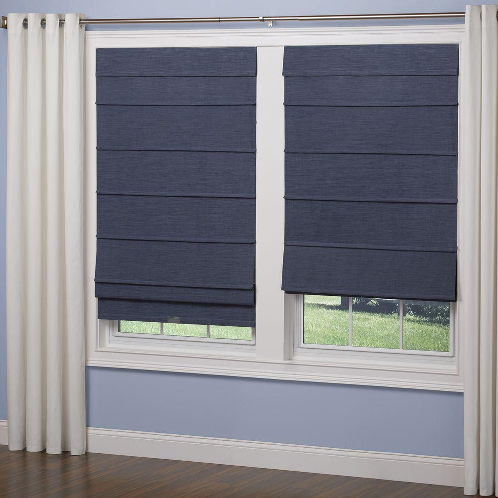 Elegant home fashions navy room darkening cordless fabric for Pictures of roman shades on windows
