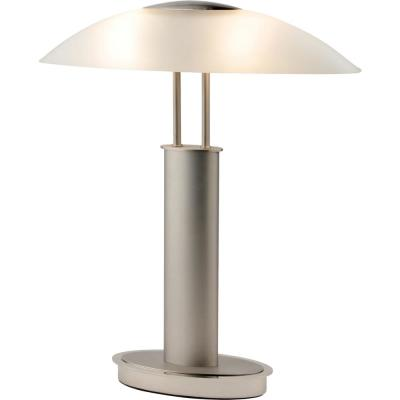 Avalon Modern 2-Tone 18.5 in. Nickel Table Lamp with Oval Canoe-Shaped Frosted Glass Shade and 3-Way Touch Switch