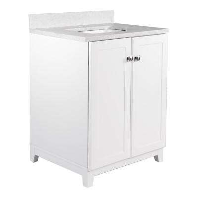 24 in. x 21 in. x 33 in. 2-Door Bath Vanity in White with 4 in. Centerset Snowdrift Quartz Vanity Top with White Basin