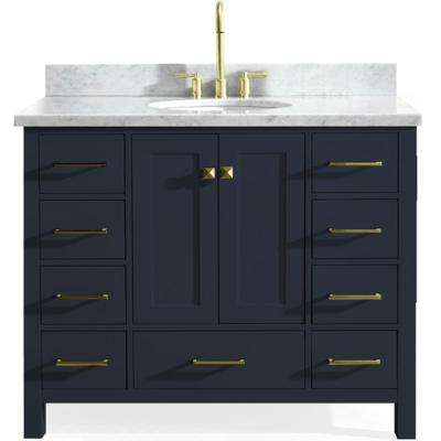 Cambridge 43 in. W x 22 in. D Vanity in Midnight Blue with Marble Vanity Top in Carrara White with White Basin
