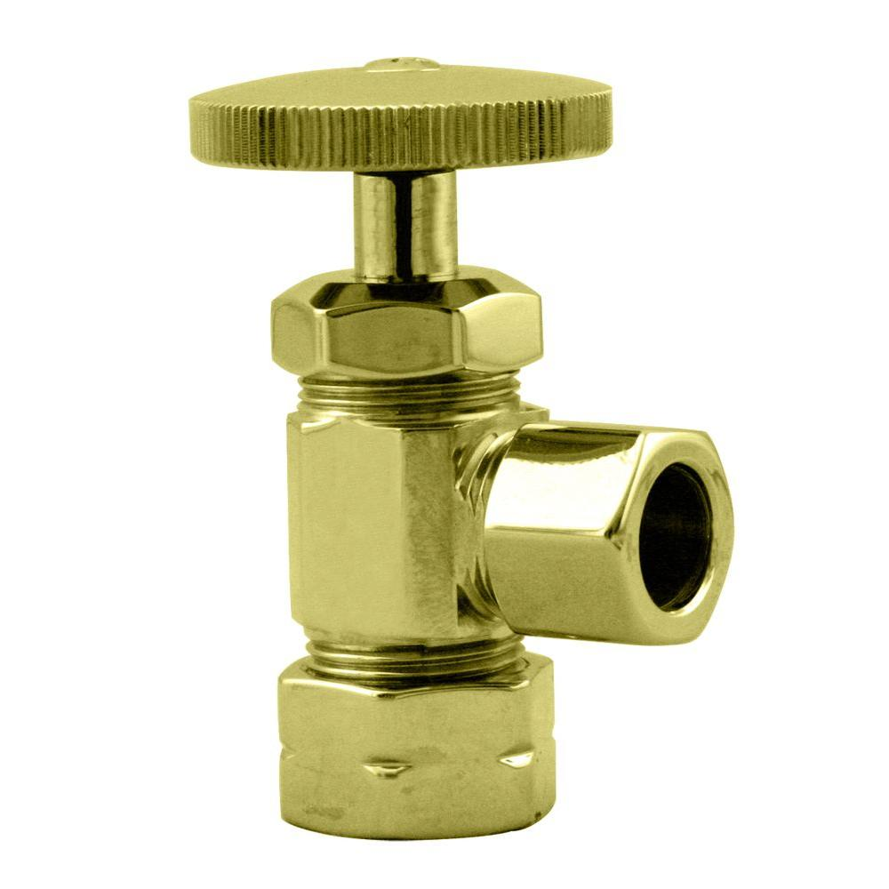 Westbrass 1/2 in. Nominal Compression Inlet Angle Stop with Round Handle in Polished Brass-DISCONTINUED