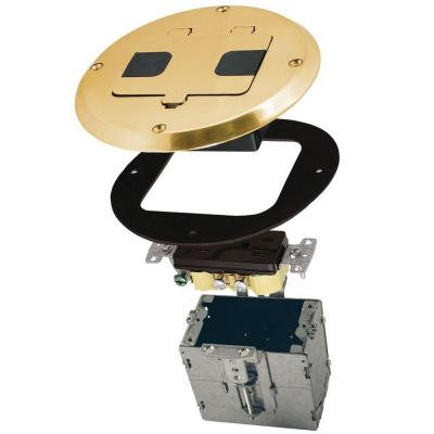 1-Gang Brass Floor Box Kit with Recessed Duplex 15A TR Device and Adjustable Steel Box
