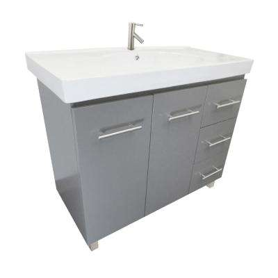 Pam R 39.6 in. W x 18.9 in. D Bath Vanity in Gray with Ceramic Vanity Top in White with White Basin