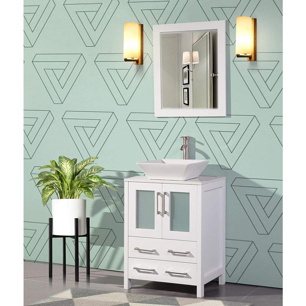 Ravenna 24 in. W x 18.5 in. D x 36 in. H Bathroom Vanity in White with Single Basin Top in White Ceramic and Mirror