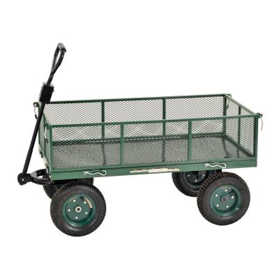 5 cu. ft. 24 in. W Mesh Wire Utility Cart with Removable Sides, 800 lb. Capacity