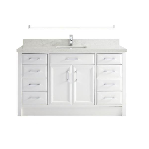 Calais 60 in. Vanity in White with Solid Surface Vanity Top