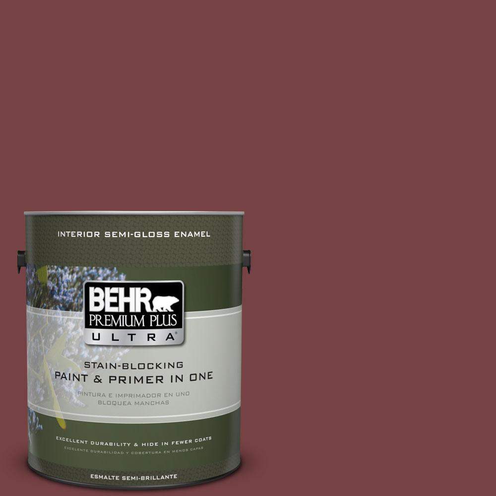 BEHR Premium Plus Ultra 1-gal. #150F-7 Burnt Tile Semi-Gloss Enamel Interior Paint