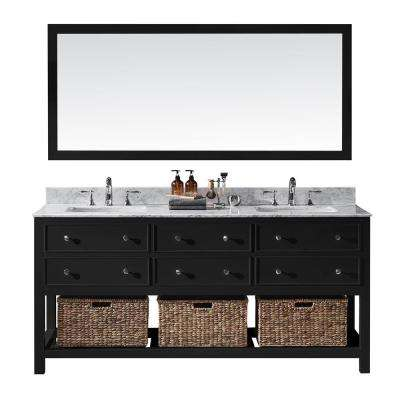 Elodie 72 in. W x 22 in. D x 34.21 in. H Bath Vanity in Espresso With White Marble Top With White Basins and Mirror