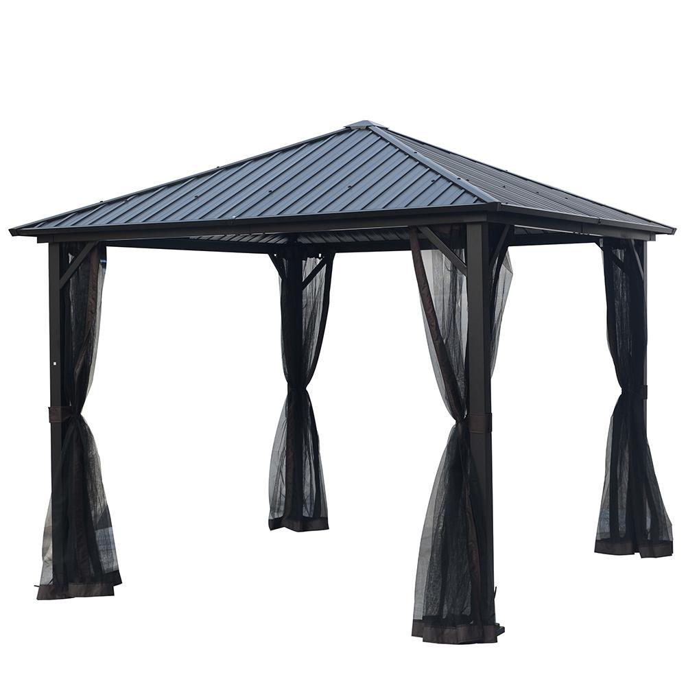 10 ft. x 10 ft. Galvanized Steel Outdoor Patio Gazebo Hardtop with Netting