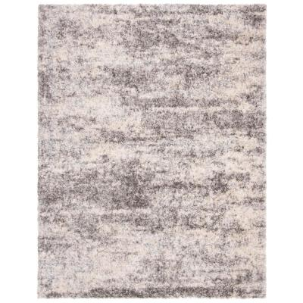 Berber Shag Gray/Cream 8 ft. x 10 ft. Area Rug
