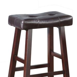 Prime Benjara 29 In Brown Leather Upholstered Wooden Bar Stool Caraccident5 Cool Chair Designs And Ideas Caraccident5Info