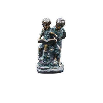 Alpine Corporation Outdoor Décor Girl and Boy Reading Together Statue