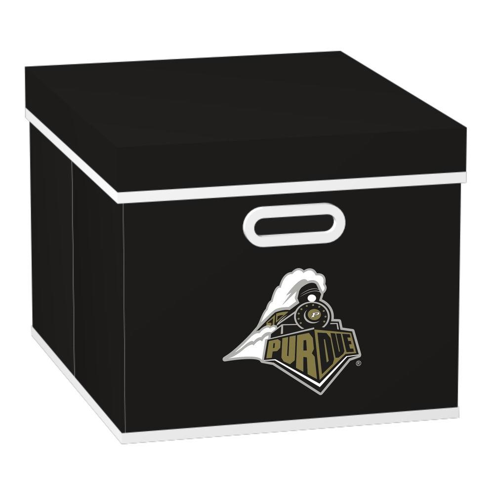 MyOwnersBox College STACKITS Purdue University 12 in. x 10 in. x 15 in. Stackable Black Fabric Storage Cube
