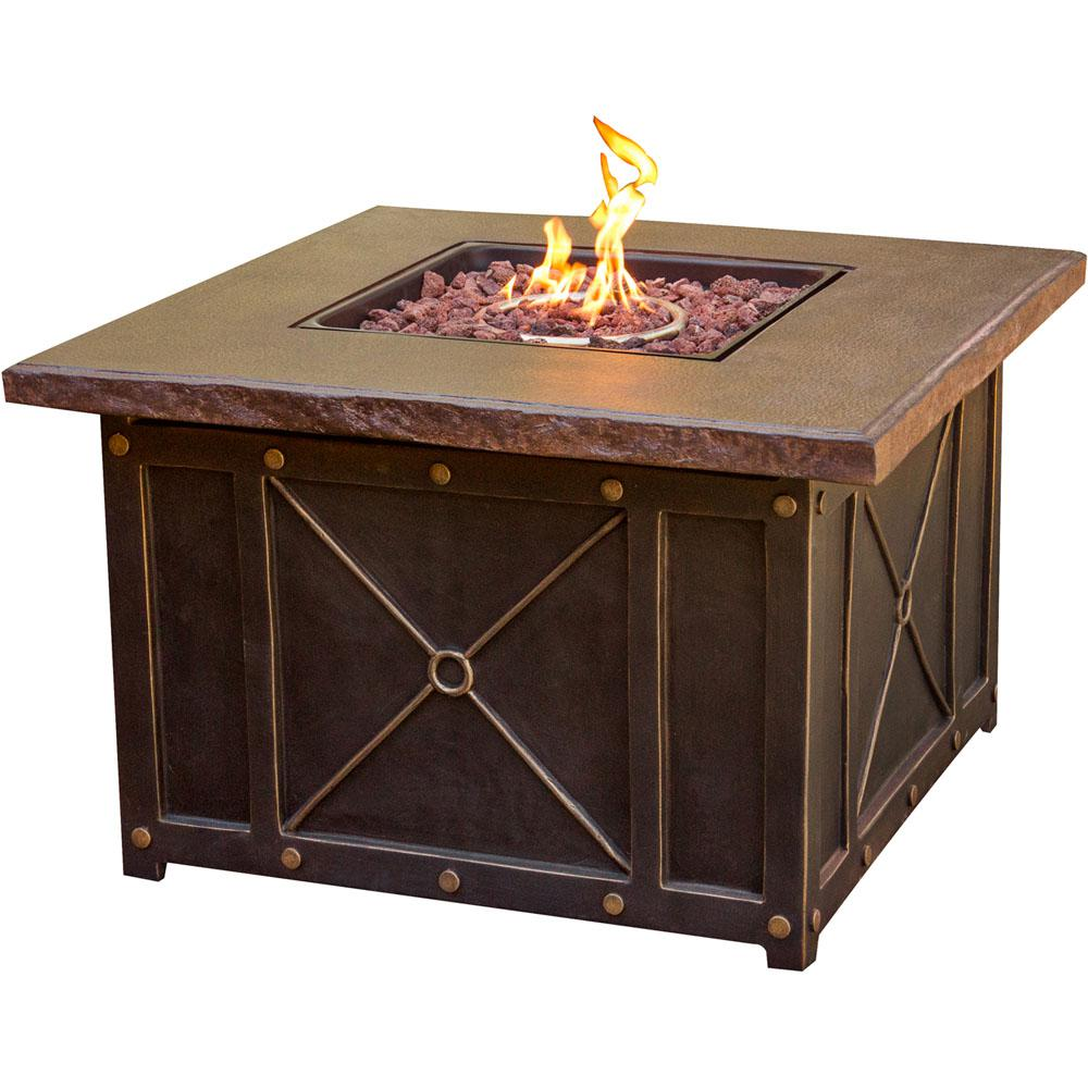 40 in. Square Gas Fire Pit with Durastone Top