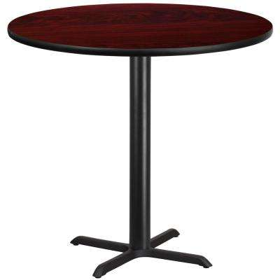42 in. Round Black and Mahogany Laminate Table Top with 33 in. x 33 in. Bar Height Table Base