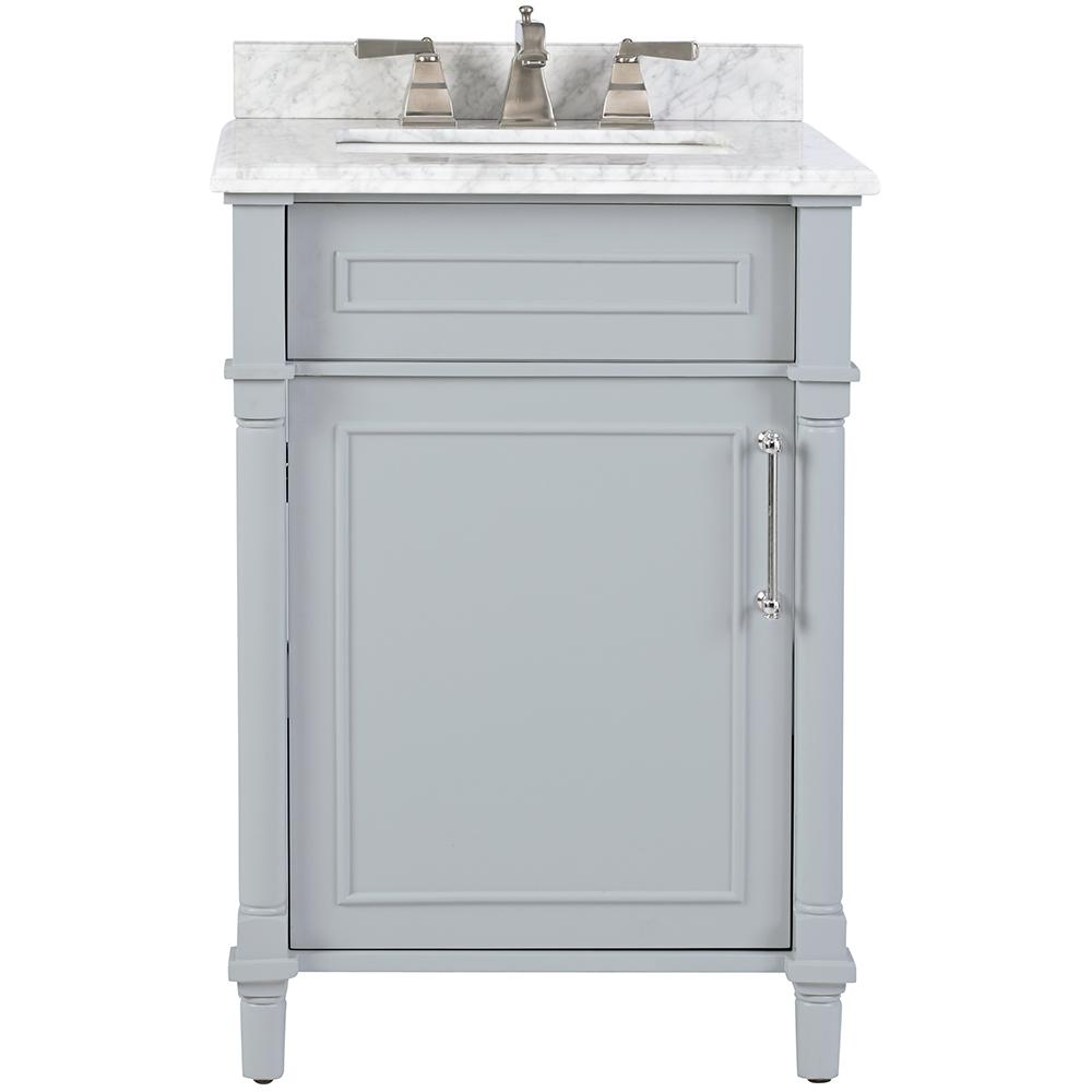 Home Decorators Collection Aberdeen 24 in. W x 20 in. D Bath Vanity in Dove Grey with Carrara Marble Top with White Sink