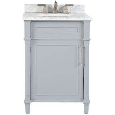 . Aberdeen 24 in  W x 22 in  D Bath Vanity in Dove Grey with Carrara Marble  Top with White Sink