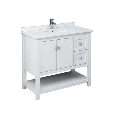 Manchester 40 in. W Bathroom Vanity in White with Ceramic Vanity Top in White with White Basin