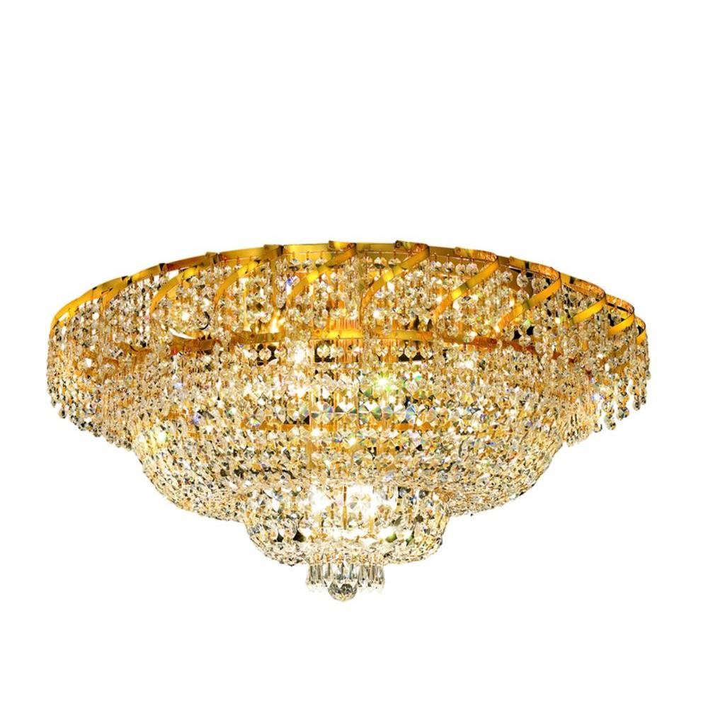Elegant Lighting 18-Light Gold Flushmount with Clear Crystal