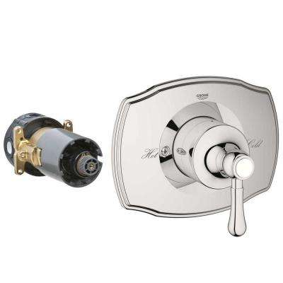 GrohFlex Authentic Single Handle Rough-In Box Pressure Balance Valve Trim Kit in Polished Nickel (Valve Sold Separately)